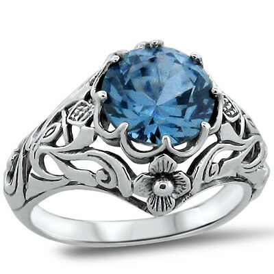 Sim Aquamarine Nouveau .925 Sterling Silver Antique Design Ring Size 5,     #365