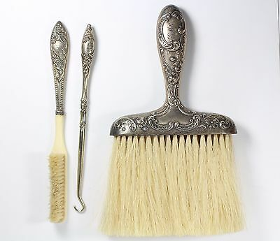 Antique 1800's Brushes & Button Hook Floral Pattern