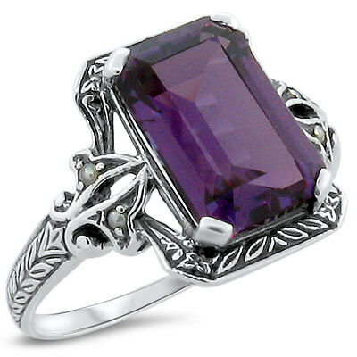 5 Ct. Color Changing Lab Alexandrite Antique Design 925 Silver Ring Size 6,#197