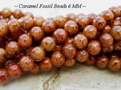 2 Strands of Caramel Fossil Beads Size 6MM
