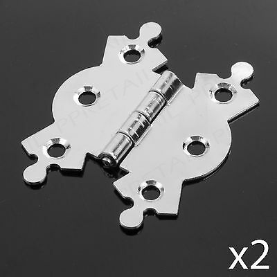 """PAIR OF 50mm/2"""" DECORATIVE BUTTERFLY BUTT HINGES Chrome Ornate Door Repair x2"""