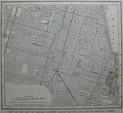 1926 Antique CHICAGO Map CITY CENTER Black and White Original Chicago Map 2851