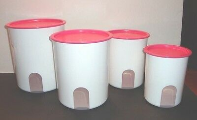 Tupperware Reminder Canisters Set Pink Punch One Touch Seals +Citrus Peeler New