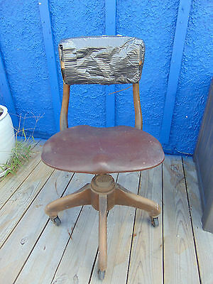 Antique Sikes chair furniture swivel office industrial wood metal adjustable art