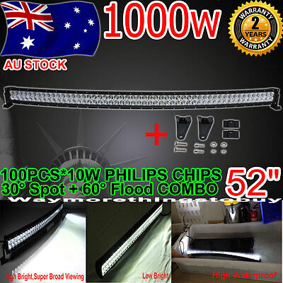 Cree 52Inch 500W Led Curved Work Light Bar Combo Offroad 4Wd Boat Jeep Suv Atv