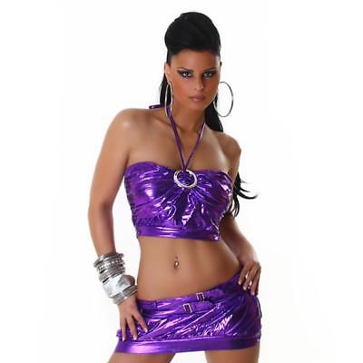 Sexy 2-Tlg Gogo-Set Top+Rock Clubwear Metallic-Look Lila 34/36/38 #gw292