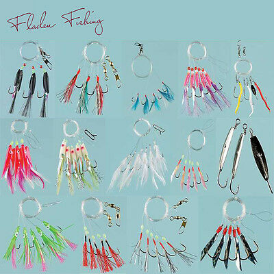 Pack of 10 Assorted Mackeral Mackerel Sea Fishing Feathers Rig Jig Lures Boat