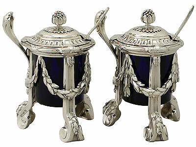 Pair of Sterling Silver Mustard Pots - Regency Style - Antique George V