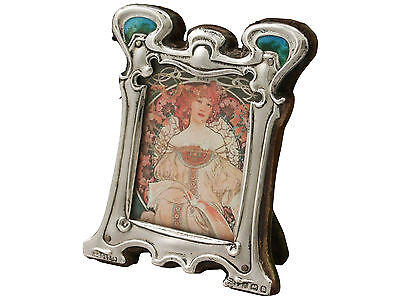 Sterling Silver & Enamel Photograph Frame, Art Nouveau Style - Antique Edwardian
