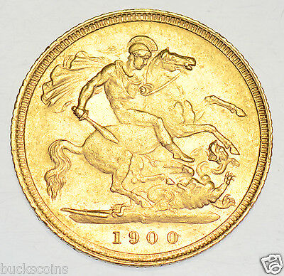 1900 S Half Sovereign, Sydney Mint, British Gold Coin From Victoria Ef