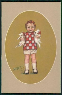 sg Zandrino Art Deco Child Boy with 2 cat PET original old c1920s postcard