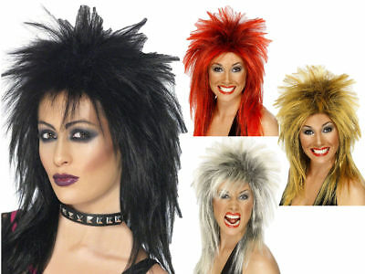 Rock Diva Wig 80s Mullet Punk Ladies Fancy Dress Costume Accessory