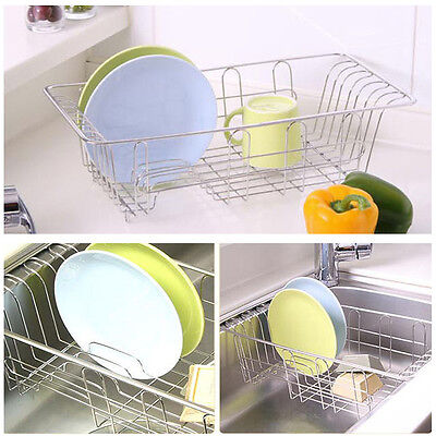 Stainless Dish Washing Dishes Dryer Storage Tray Rack for Sink