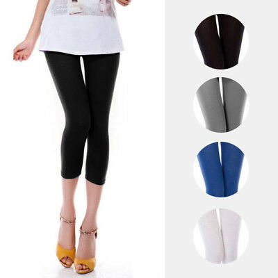 Women`s 3/4 Length Legging Plain Stretch Soft Lady Basic Leggings (Au Size 8~24)