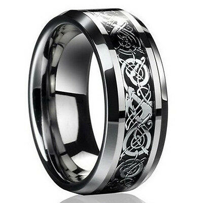 2016 Men's Silver Celtic Dragon Titanium Stainless Steel Wedding Band Rings Gift