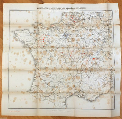 1880s Antique Colour Map of FRANCE Franco - Prussian War 1870