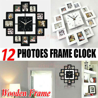 Multi Family Picture Wooden Photo Frame Wall Clock For Photos Home Decor Hanging