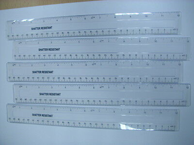 """10 New 12"""" Inch / 30Cm Clear Good Quality Shatter Resistant Ruler"""