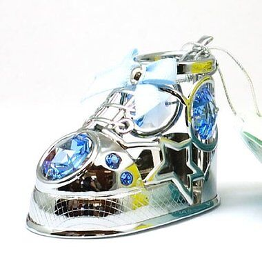 CRYSTOCRAFT Swarovski Miniature novelty Blue Baby Bootie Gift For New Baby Boy