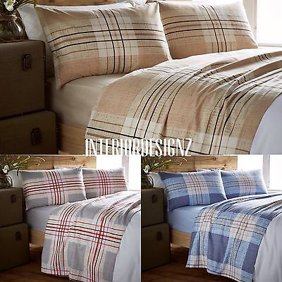 NEW Luxury Thermal Flannelette 100% Cotton Check Printed Bed Sheet Set