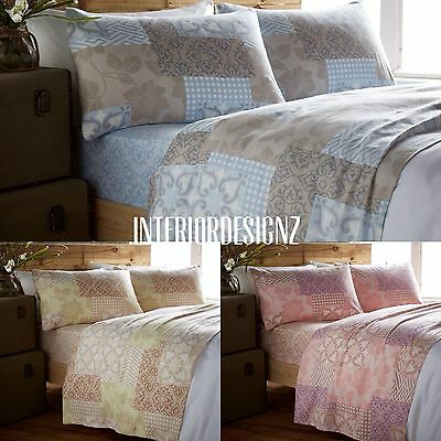 NEW Luxury Thermal Flannelette 100% Cotton Floral Printed Bed Sheet Set