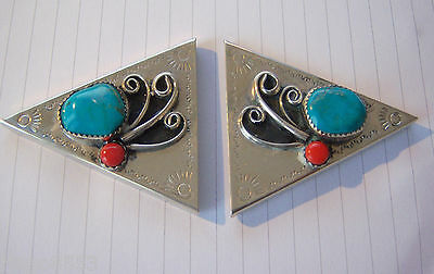 Large Size Vintage Silver Collar Tips Points Clips Turquoise And Coral