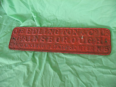 Old antique reclaim cast iron sign J B EDLINGTON Gainsborough Potato Sorter