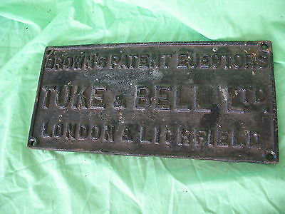 Old antique reclaim cast iron advertising sign TUKE & BELL LTD LICHFIELD