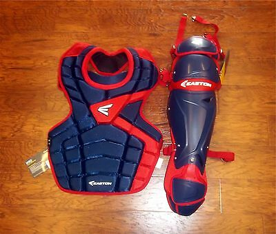 "Easton M10 Adult Baseball Catcher's Gear Set NEW Navy/Red CP: 16.5"" Shin 17"""