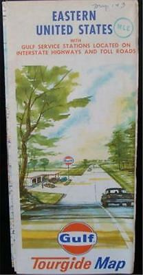 Gulf 1969 Tourgide Rand McNally Map Eastern United States with Gulf Locations