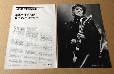 1985 Johnny Thunders 2pg 1 photo  JAPAN mag article /clipping new york dolls j2m