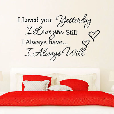 I Love You Quote Wall Stickers Vinyl Art Decal Mural Home Decor Black Removable