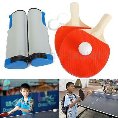 Retractable Table Tennis Net + 2 Racket Paddle Bat + 3 White Ping Pong Ball Set