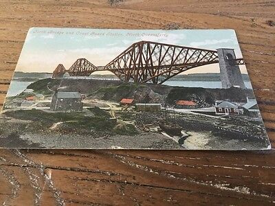 old Postcard  Forth Bridge Coast Guard Station North Queensferry