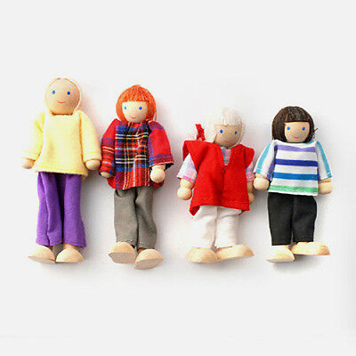 Dolls House Wooden Dolls: Family of 4 (Mum Dad Girl Boy): for children CE marked