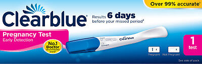 1 x Clearblue 6 Days Early Detection Pregnancy Tests Testing Stick Kit