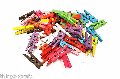 Mini Pegs 3cm Mixed Colour Small Wooden Peg Clip Clamp Wood - UK Seller
