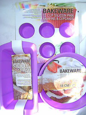 New Silicone Cake Baking 3 Set Purple Loaf 12 Hole Muffin & Round Cake Moulds
