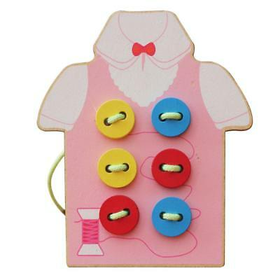 Kids Sewing Button Wooden Threading Beads Lacing Board Learning Toys Pink