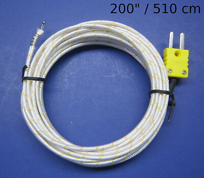 "High Temperature K-Type Thermocouple Wire Digital Thermometer Sensor 200"" PK1000"