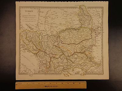 1844 BEAUTIFUL Huge MAP of Northern Turkey Constantinople Croatia Crimea ATLAS