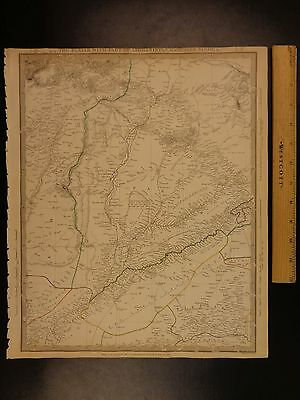 1844 BEAUTIFUL Huge Color MAP of Middle East Afghanistan Panjab Pakistan ATLAS