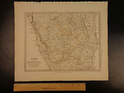 1844 BEAUTIFUL Huge Color MAP of INDIA Carnatic Madras Presidency Mysore ATLAS