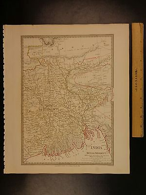 1844 BEAUTIFUL Huge Color MAP of INDIA Bengal Presidency Ganges Hindustan ATLAS