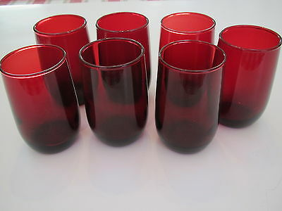 """1950-60's Anchor Hocking 7- 3 1/4"""" H, 5 oz, royal ruby roly poly tumblers-excond"""