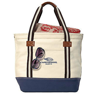 Chaparral Over-sized Nautical Cotton Tote by Catalina Natural/Navy