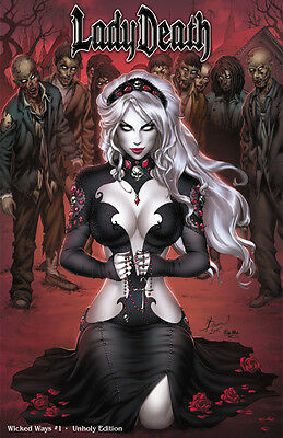 Lady Death Wicked Ways #1 Ltd 99 ECC Unholy Variant Pulido Coffin Signed bp9