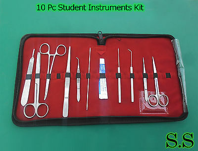 10 Pc Student Dissecting Dissection Medical Lab Instruments Kit Set+5 Blades #10