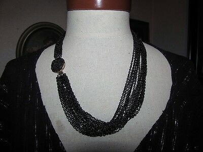 STUNNING VINTAGE ESTATE BLACK ENAMEL 15 Multi CHAIN LIGHT CATCHING  NECKLACE