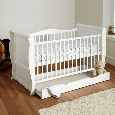 New 4Baby White Sleigh Cot Bed With Storage Drawer & Sprung Deluxe Mattress